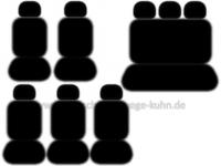 VW T6 Caravelle - Komplettset I (2 Vordersitze / 3 Einzelsitze / Dreierbank / 8 Kopfstützen / 8 Armlehnen)